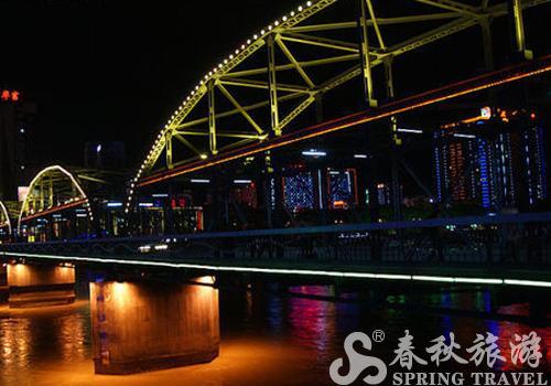 青海 兰州/青海兰州天下黄河第一桥绚烂夜景随拍